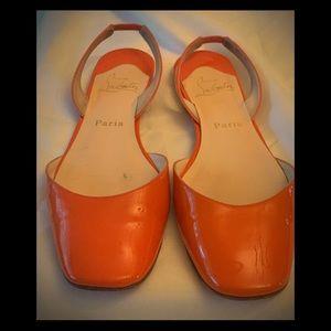 GUC- Re Poshed Orange Christian Louboutin Flats